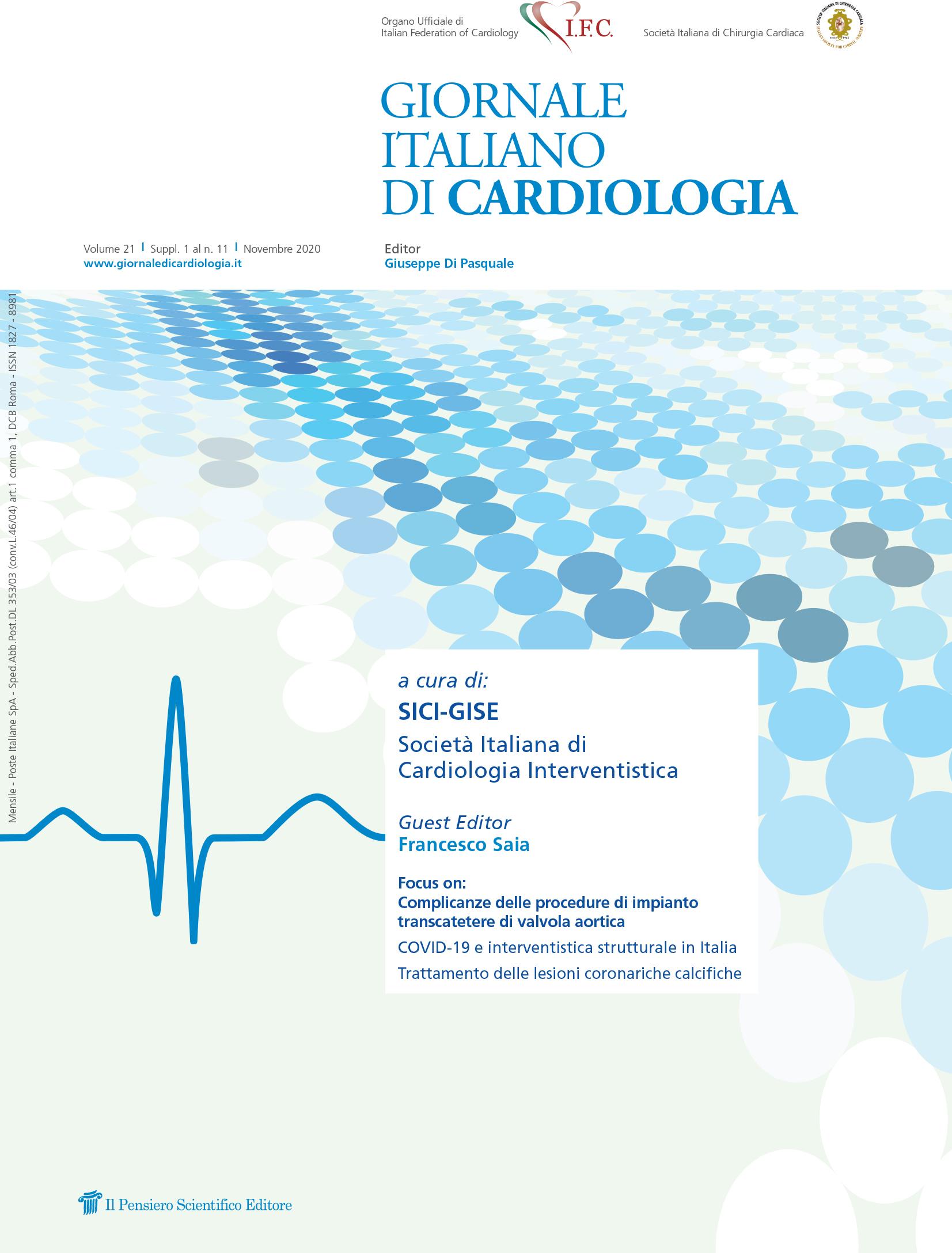 2020 Vol. 21 Suppl. 1 al N. 11 Novembrea cura di: SICI-GISE Società Italiana di Cardiologia Interventistica